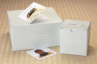 Prosperity Candle gift box for fair trade, handpoured Zodiac Candles.