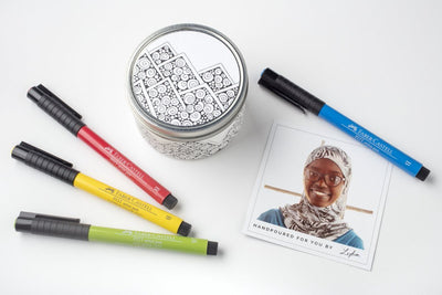 Mountain Doodle Candle Gift Set - ethically made soy blend candle and artist pen gift set