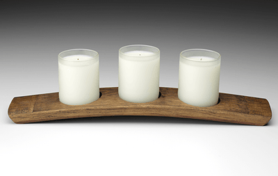 Wine Barrel Centerpiece - Prosperity Candle handmade by women artisans fair trade soy blend candles
