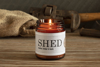 Guy Men Soy Candle shed leather wood great gift for fathers husbands handmade fair trade