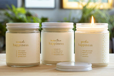 Happiness Trio Gift Set - Ethical candles that give back and fair trade gifts curated for a cause.