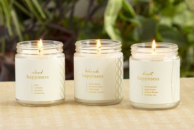 Island, Lakeside, Desert Happiness Candles - ethical candles and gifts that give back. Handmade with a purpose by women artisans.
