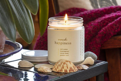 Happiness Hygge Seaside Candle soy blend fair trade handmade by women artisan refugees