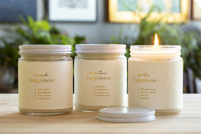 Seaside, Mountain, Garden Happiness Candle - Ethical candles and gifts that support women's causes. Handmade by women artisans in the U.S.