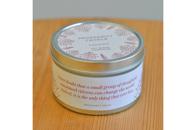 Holiday Series Quote Tins - Prosperity Candle handmade by women artisans fair trade soy blend candles