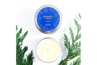 Holiday Series Quote Candle in Chai Tea scent - Prosperity Candle handmade by women artisans fair trade soy blend candles