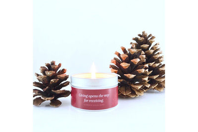 Holiday Series Quote Candle in Peppermint Drop scent - Prosperity Candle handmade by women artisans fair trade soy blend candles