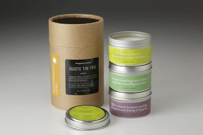 Quote Tin Trio Gift Set - Prosperity Candle handmade by women artisans fair trade soy blend candles
