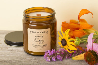 Fair trade soy blend candles handmade by women artisan refugees in Pioneer Valley apiary with beeswax, socially responsible