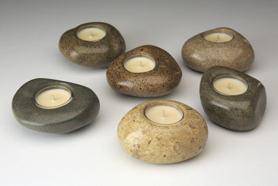 Riverstone Tealight - Prosperity Candle handmade by women artisans fair trade soy blend candles
