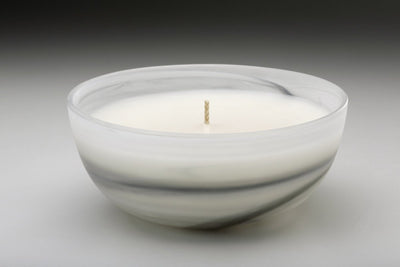 Alabaster Swirl Bowl - Prosperity Candle handmade by women artisans fair trade soy blend candles
