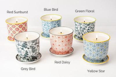 These soy blend candles make great re-usable gifts as they turn into flower pots when the wax is gone! Poured in the United States by women artisans.