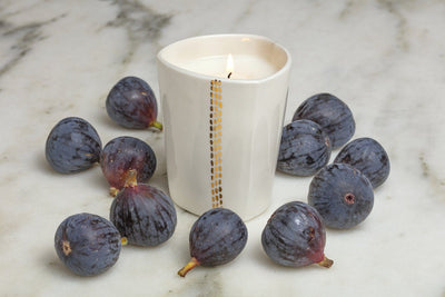 Linnea Gold Candle - elegant soy blend candle handcrafted by Tandem Ceramics in Massachusetts. Gifts that give back.