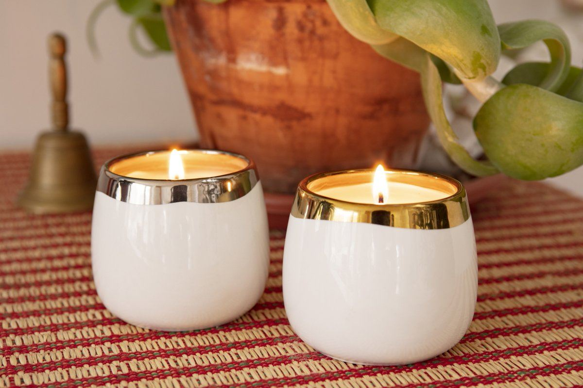 Lulea votives handmade in the United States by women artisans creating a better life for themselves. Soy blend candles with natural cotton wicks make a great gift that gives back.