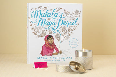 Malala's Worldview Gift Set - Prosperity Candle handmade by women artisans fair trade soy blend candles