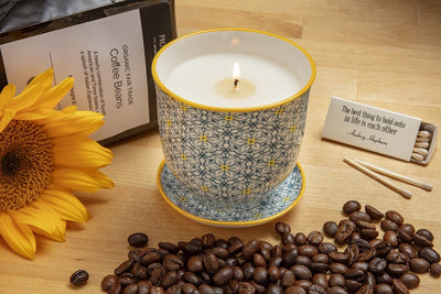 Wake up to a soy blend candle handpoured in the United States and some fresh organic coffee. A great gift for Mother's Day, birthdays and housewarming.