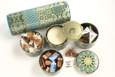 Mosaic Four-Tier Gift Set - handpoured soy blend candle in the United Statess. Meaningful gift set that is great for birthdays, anniversaries and graduations. Includes organic fair trade chocolate, smal-batch caramels and tea.