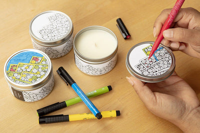 Mountain Doodle Candle Gift Set - handpoured soy blend candle and artist pen gift set, ethically made in the U.S.