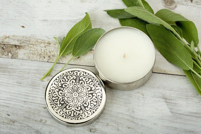 Narela Box - brass candle handmade by women artisans in India and handpoured at Prosperity Candle