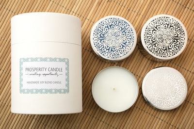 Narela Trio Gift Set - Prosperity Candle handmade by women artisans fair trade soy blend candles