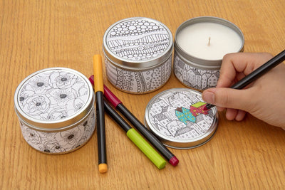 Doodle Candles- color your own candle! Relax with Prosperity Candle handmade by women artisans fair trade soy blend candles