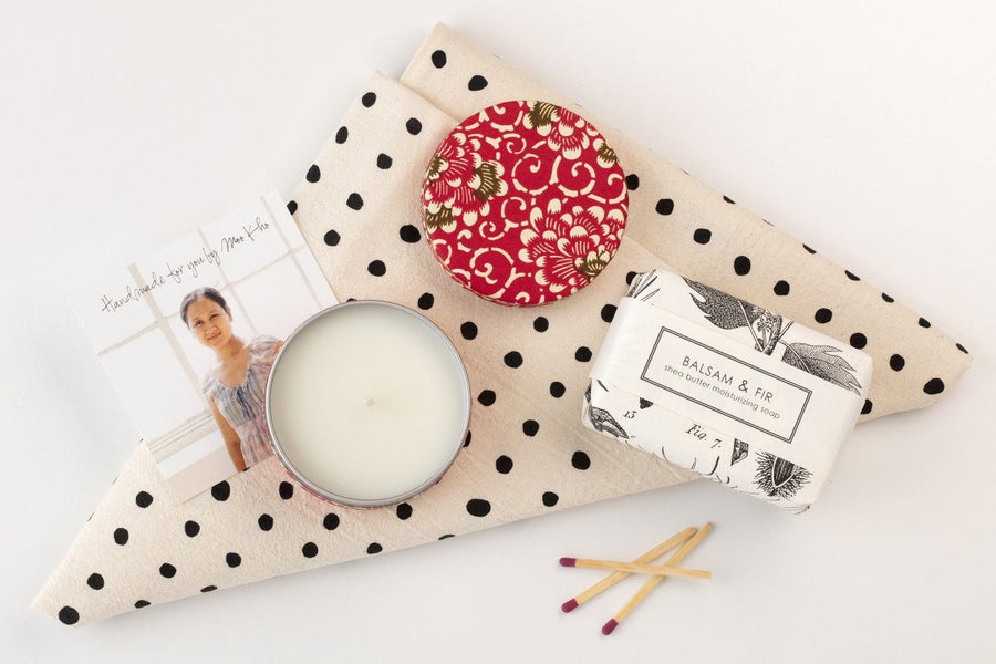 cf4e4146b4026 Happiness Gift Set  34.00. Simple Delight - Prosperity Candle handmade by  women artisans fair trade soy blend candles