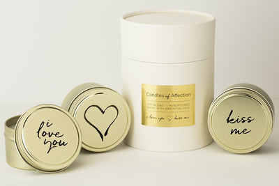Soy blend travel candles featuring words of affection throughout the year. Each fair trade candle is hand poured by a woman refugee in the United States. Best Valentine's Day present with a mission to give back.
