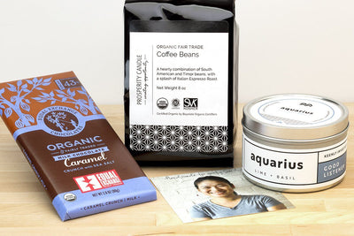 Zodiac birthday gift set with fair trade soy blend candle ethically handmade by women artisan refugees at Prosperity Candle, plus organic fair trade Dean's Beans coffee and fair trade organic Equal Exchange Chocolate