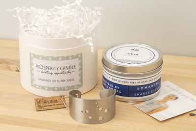 Zodiac Cuff Gift Set - Prosperity Candle handmade by women artisans fair trade soy blend candles