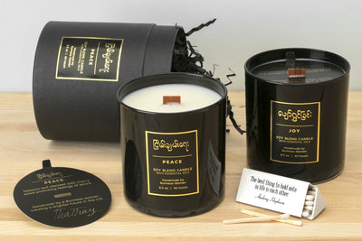 Socially responsible gift set that includes two fairtrade soy blend candles hand poured by artisans creating a brighter future in the United States. Best business gift.