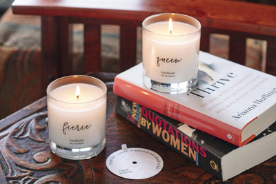 She Inspires Candle - Feminist gifts that give back. Handmade soy blend candle with strong women quotes.