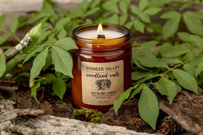 Pioneer Valley Woodland Walk Candle - Prosperity Candle handmade by women artisans fair trade soy blend candles