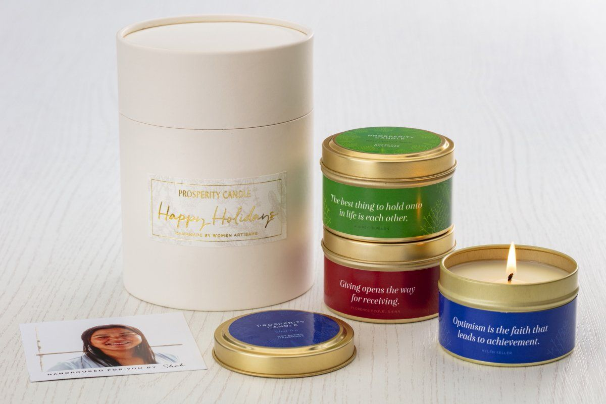 Holiday Quote Tin Candle Trio - Ethical gifts that give back and gifts that support refugees. Perfect business gifts for the holidays.