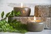 Riverstone tea light holders with Haitian beeswax tea lights.