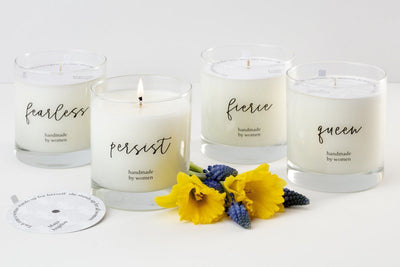 She Inspires Candle - Feminist gifts that give back to empower daughters, girls, friends, and co-workers in your life.