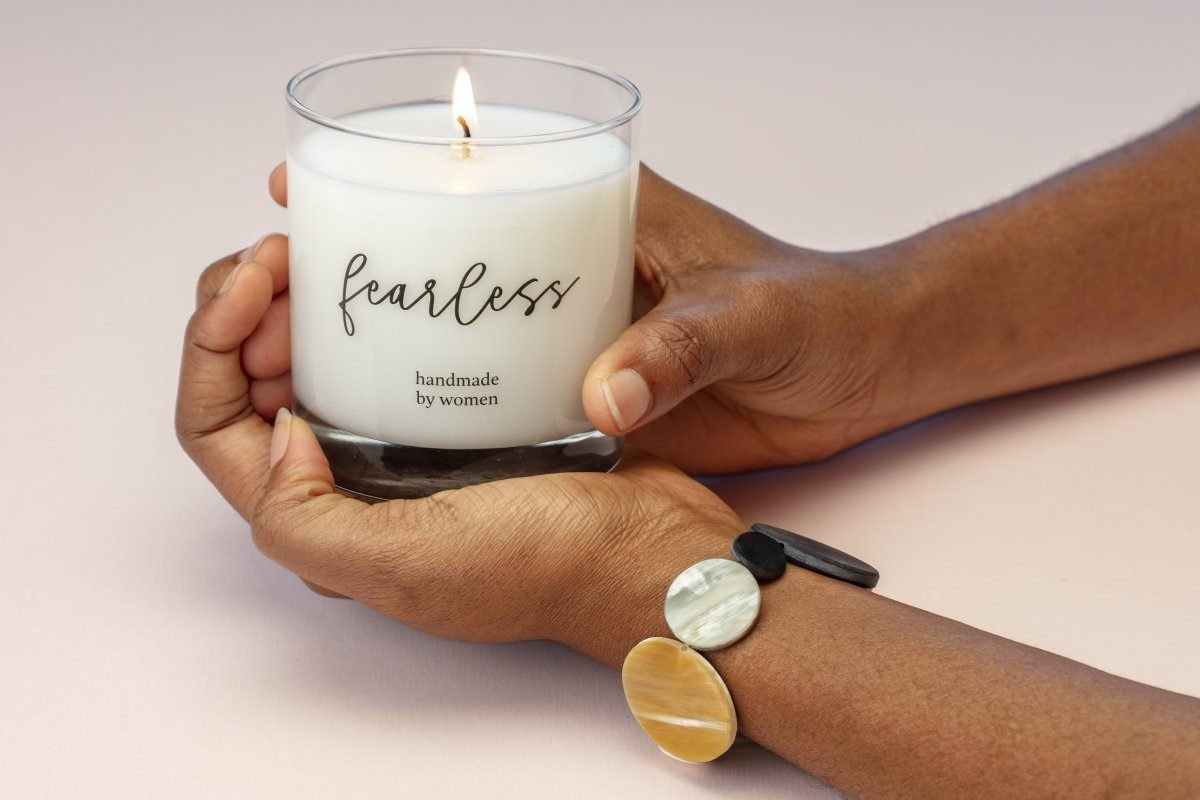 An empowering gift that gives back to women artisans. Ethically made candle paired with a bracelet.