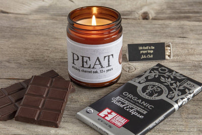 Great business gift dark chocolate and whiskey whisky PEAT soy candle handpoured by women artisan refugees
