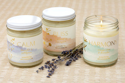 Aromatherapy candles hand poured by women artisans making a better life for themselves in the United States.
