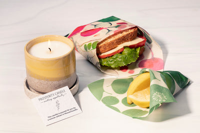 Ethically made sustainable candle and eco-friendly food storage gift set by Prosperity Candle