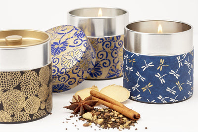 Washi Tea tin soy blend fair trade candles are great gifts for birthdays, anniversaries, weddings and showers. Gifts that give back make by supporting living wage jobs for women refugees.