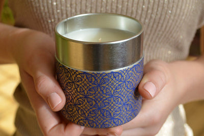 Tall Washi Tin soy blend candle ethically handmade by women artisans at Prosperity Candle supporting refugees