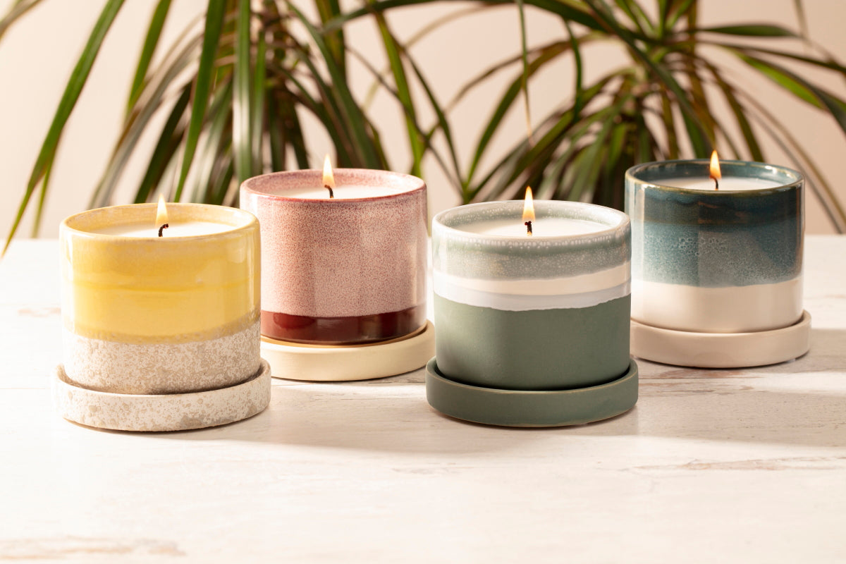 Terrace Collection of flower pot candles handpoured by women artisans in the U.S.