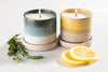 Ethically made soy coconut candles, Aqua Blue and Sunrise Yellow Terrace Collection