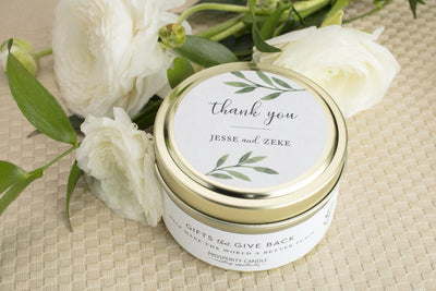 Thank You Wedding Candles - personalized fair trade wedding favors handmade by women artisans at Prosperity Candle