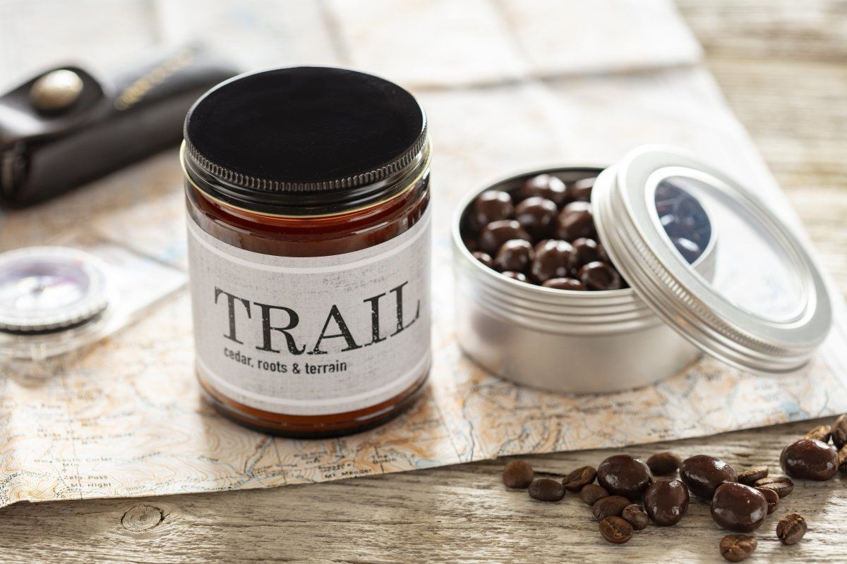 Unique outdoor gift chocolate coffee beans and Trail soy candle handmade by women artisan refugees