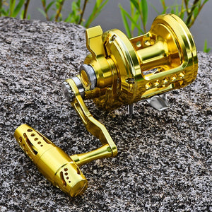 1pc Jigging Reel Max Drag 16kg-40kg 5 Series (Left/Right-Hand) Seawater Trolling Reels Aluminum CNC Machined Hollow Fishing Reel