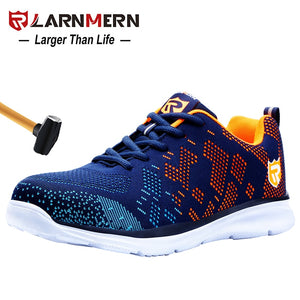 LARNMERN Lightweight Breathable Men Safety Shoes Steel Toe Work Shoes For Men Anti-smashing Construction Sneaker With Reflective