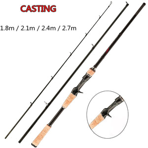FX Ultra Light Fishing Rod Travel 3-Section Lure Rod Bait Spinning Casting Fishing Rod 1.8m 2.1m 2.4m 2.7m 5g-40g M/ML/MH