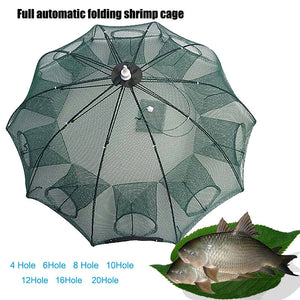 Strengthen 4-20 Holes  Portable Folded Fishing Net Fish Shrimp Minnow Crayfish Crab Baits Cast Mesh Trap automatic Foldable Fishing Net Portable Nylon Fishing Mesh Net for Fish Shrimp