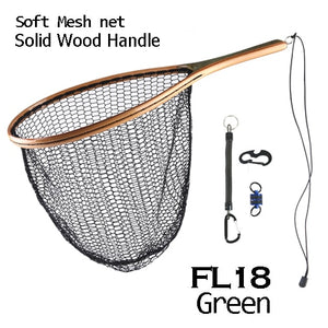 Maximumcatch Fly Fishing Landing Net Nylon Trout Catch and Release Net with Curve Wood Handle Tenkara Net